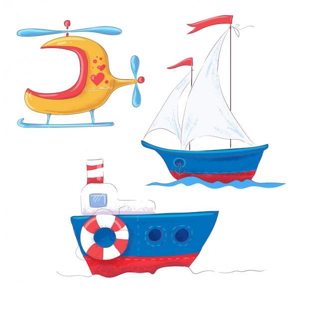 Metta il trasporto sveglio del fumetto per il vapore, il battello a vapore e l'elicottero del clipart dei bambini. Vettore Premium