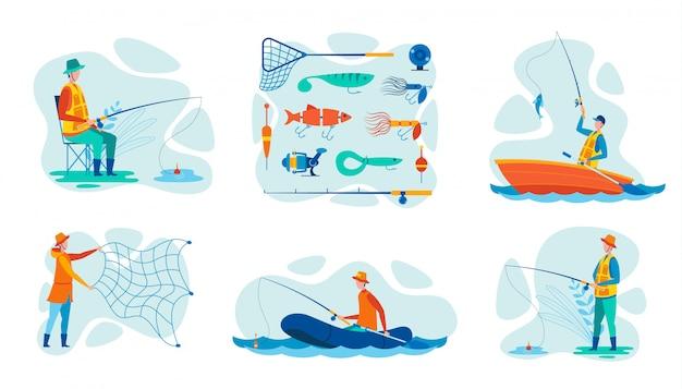 Metta l'attrezzatura per la pesca dell'illustrazione di vettore per il pescatore Vettore Premium