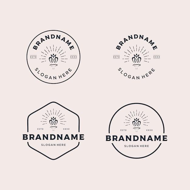 Metta l'illustrazione d'annata di vettore di progettazione di logo del retro distintivo Vettore Premium