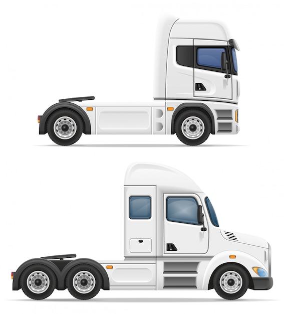 Metta l'illustrazione di vettore del rimorchio dei semi dei camion delle icone Vettore Premium