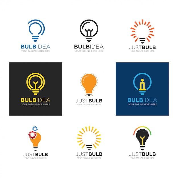 Metta l'illustrazione di vettore di logo della lampadina Vettore Premium