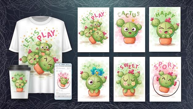 Metta l'illustrazione e il merchandising svegli dell'illustrazione Vettore Premium