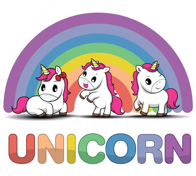 Metta l'unicorno sorridente sveglio del fumetto su un fondo bianco con le stelle e punti Vettore Premium