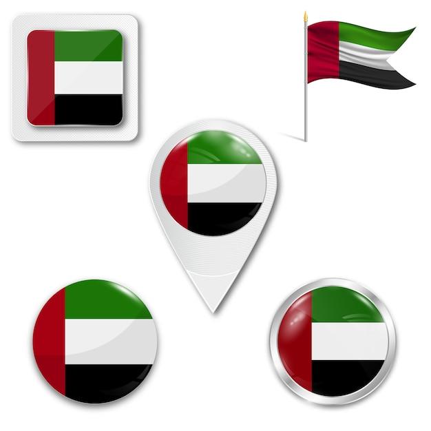 Metta la bandiera nazionale delle icone degli emirati arabi uniti Vettore Premium