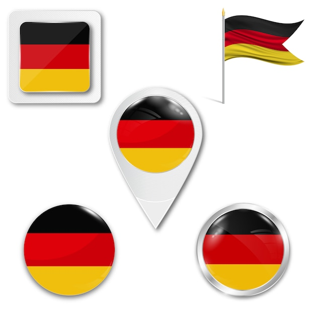 Metta la bandiera nazionale delle icone della germania Vettore Premium