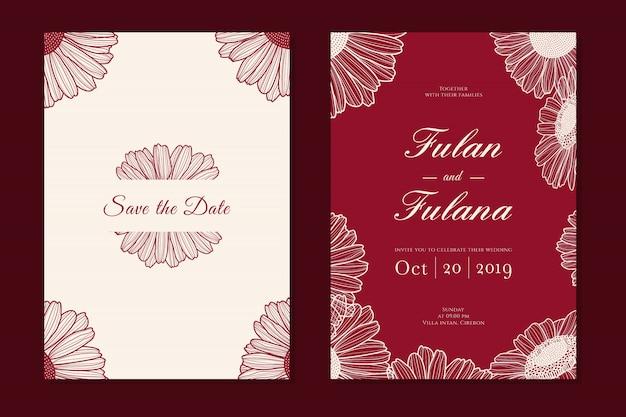 Metta la carta dell'invito di nozze con retro tradizionale d'annata di stile monocromatico floreale del profilo del fiore della margherita di scarabocchio disegnato a mano Vettore Premium