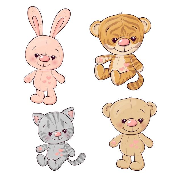 Metta la lepre dell'orsacchiotto del gattino del cucciolo di tigre. Vettore Premium