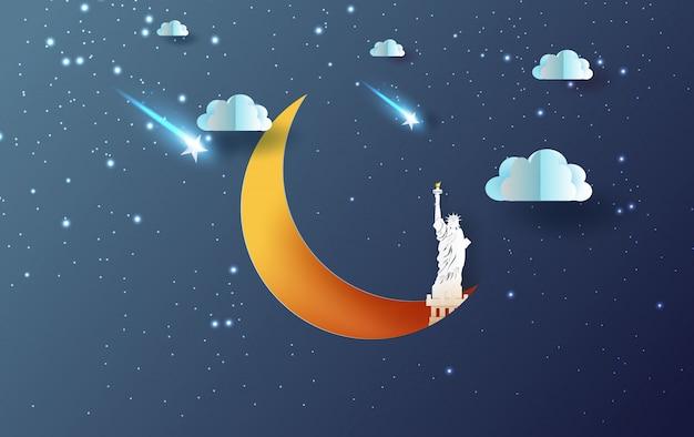 Mezza luna con il concetto di new york usa della statua della libertà. Vettore Premium