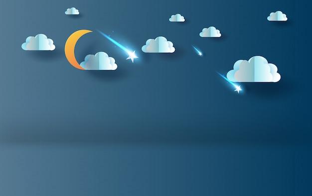 Mezza luna con nuvole e stelle cadenti nella notte del cielo Vettore Premium