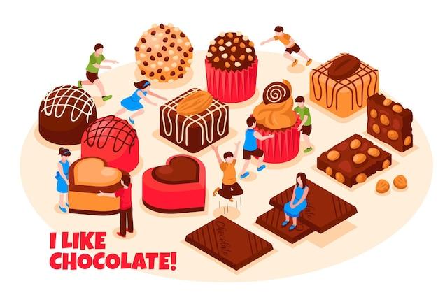 Mi piace il concetto di cioccolato con una vasta gamma di dolci al cioccolato e bar isometrici Vettore gratuito