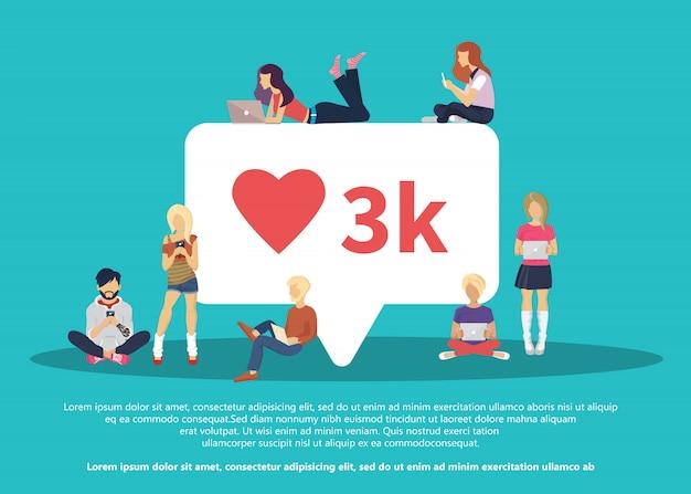 Mi piace la bolla dei social media con il simbolo del cuore rosso Vettore Premium