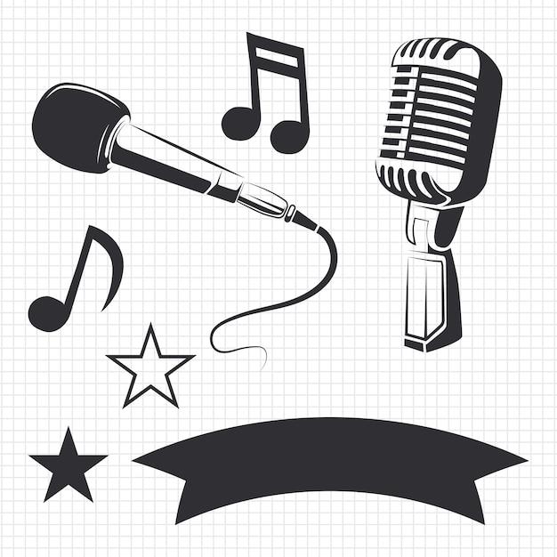 Microfoni moderni e retrò e dettagli musicali per etichette Vettore Premium