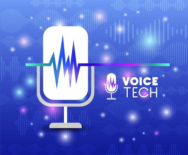 Microfono con tecnologia di riconoscimento vocale Vettore Premium
