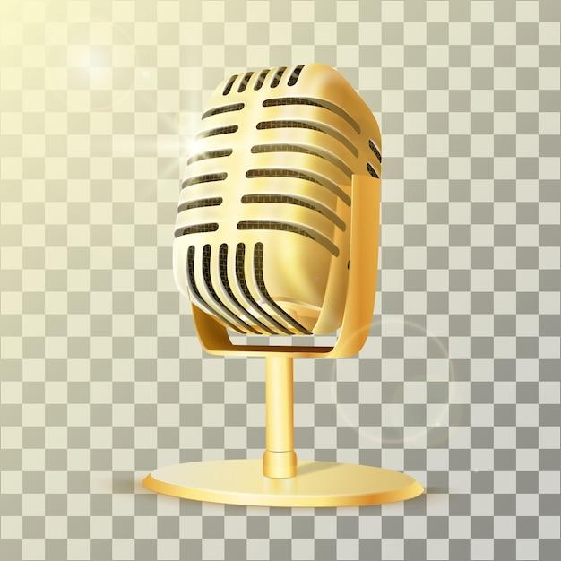 Microfono da studio dorato vintage. Vettore Premium