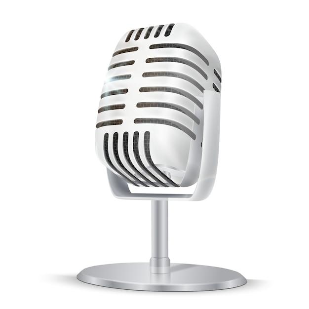 Microfono da studio in argento vintage. Vettore Premium
