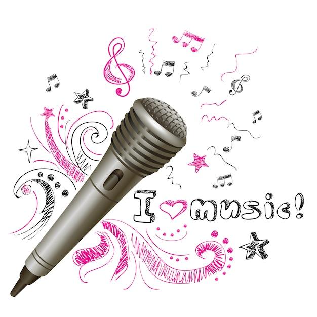 Microfono doodle musicale Vettore gratuito