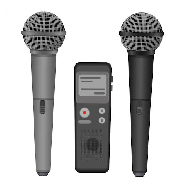 Microfono e dittafono Vettore Premium