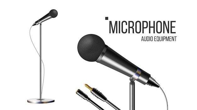 Microfono moderno con supporto Vettore Premium