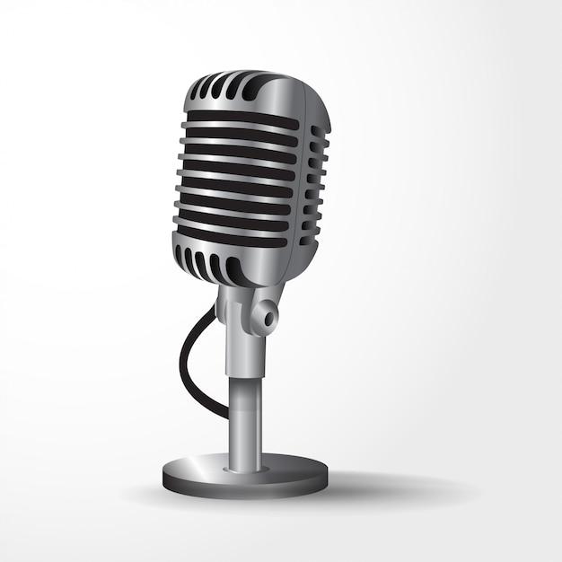 Microfono realistico Vettore Premium
