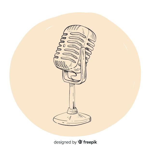 Microfono vintage disegnato a mano realistico Vettore gratuito