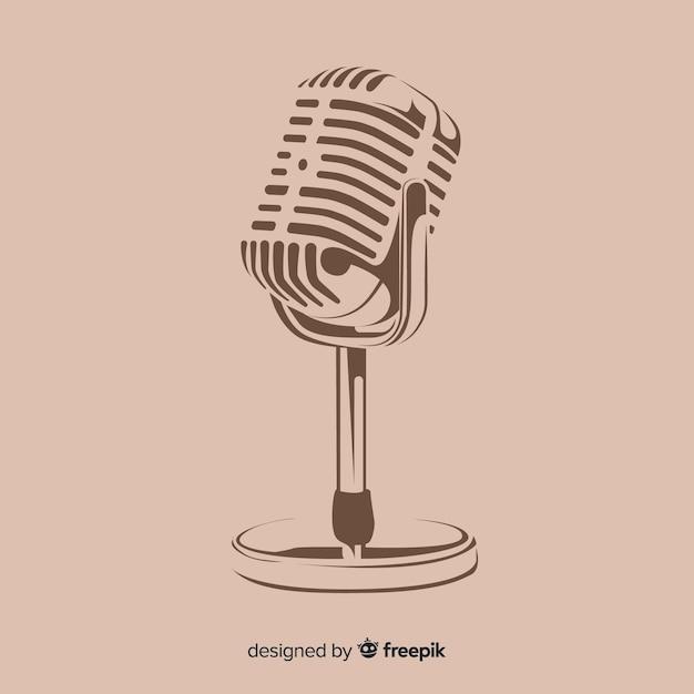 Microfono vintage disegnato a mano Vettore gratuito
