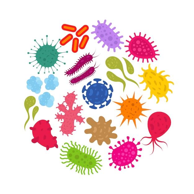 Microorganismo e virus dell'infezione primitiva. batteri e germi icone vettoriali Vettore Premium