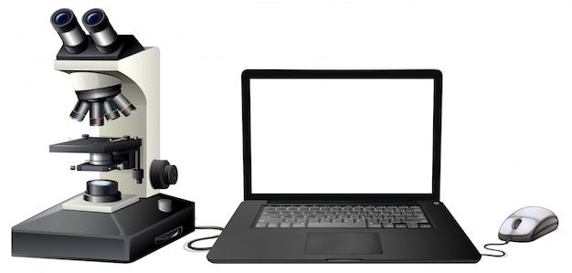 Microscopio digitale del computer su fondo bianco Vettore Premium