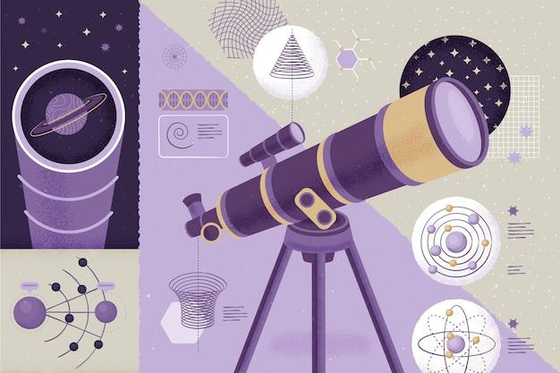 Microscopio nella stanza di nuovo al concetto di scuola Vettore gratuito