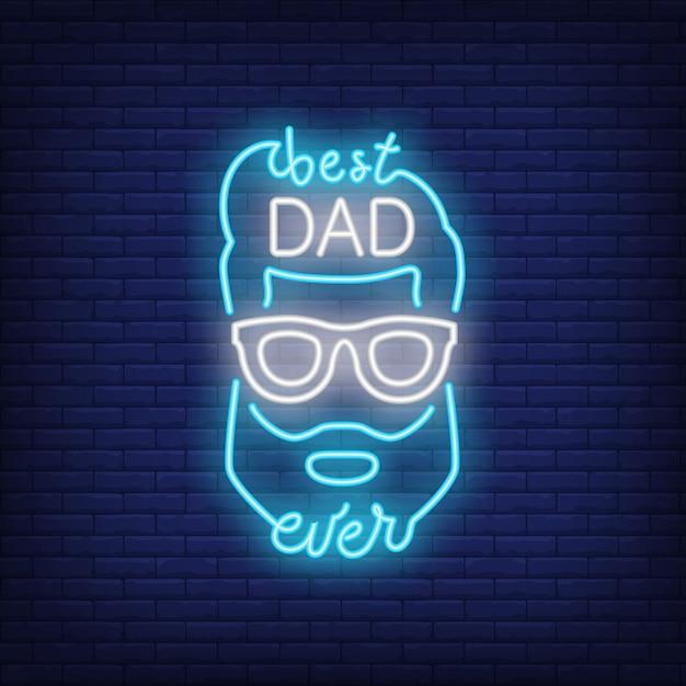 Miglior icona di stile neon di papà mai. volto maschile e scritte su sfondo di mattoni. Vettore gratuito