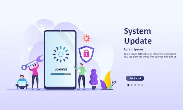 Miglioramento dell'aggiornamento di sistema modifica nuova versione Vettore Premium