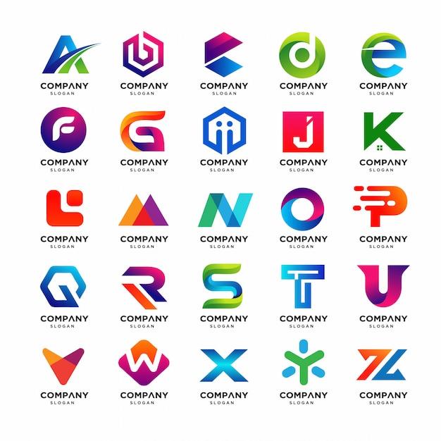 Migliore collezione di modelli di logo da lettera a a z. Vettore Premium