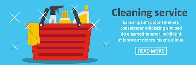 Migliore concetto orizzontale del modello dell'insegna di servizio di pulizia Vettore Premium