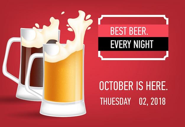 Migliore design di banner ogni sera della birra Vettore gratuito