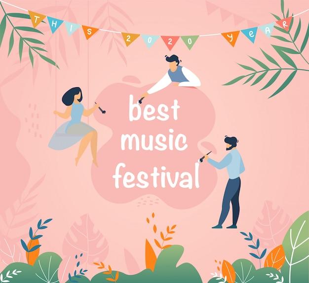 Migliore fumetto di invito per festival musicali Vettore Premium