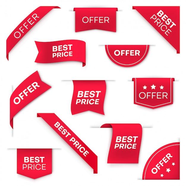 Migliori insegne o etichette del prezzo da pagare Vettore Premium