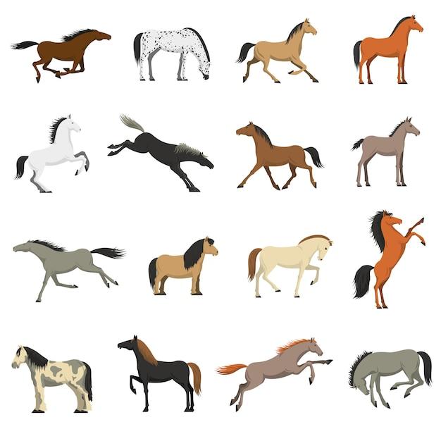 Migliori set di icone di immagini di razze di cavalli Vettore gratuito