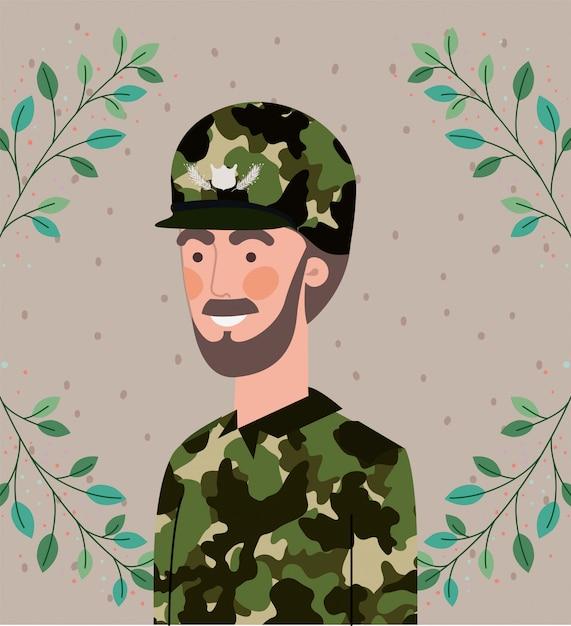Militare uomo con foglie cornice ghirlanda Vettore Premium