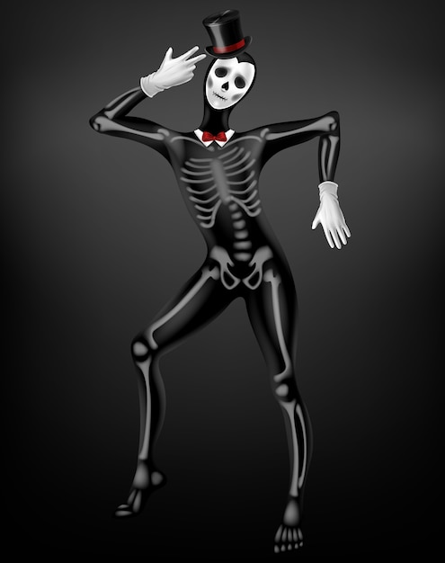 Mime in morte o vestito stretto defunto con ossa di scheletro, teschio disegno su tessuto nero, cappello a cilindro, guanti bianchi 3d realistica vettoriale. festa di halloween, giorno messicano dell'illustrazione di costume festival morto Vettore gratuito
