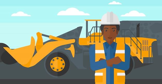 Minatore con attrezzatura mineraria attiva Vettore Premium