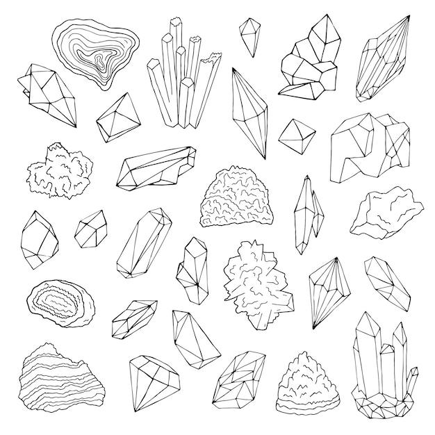 Minerali, cristalli, gemme insieme disegnato a mano dell'illustrazione in bianco e nero isolata di vettore. Vettore Premium
