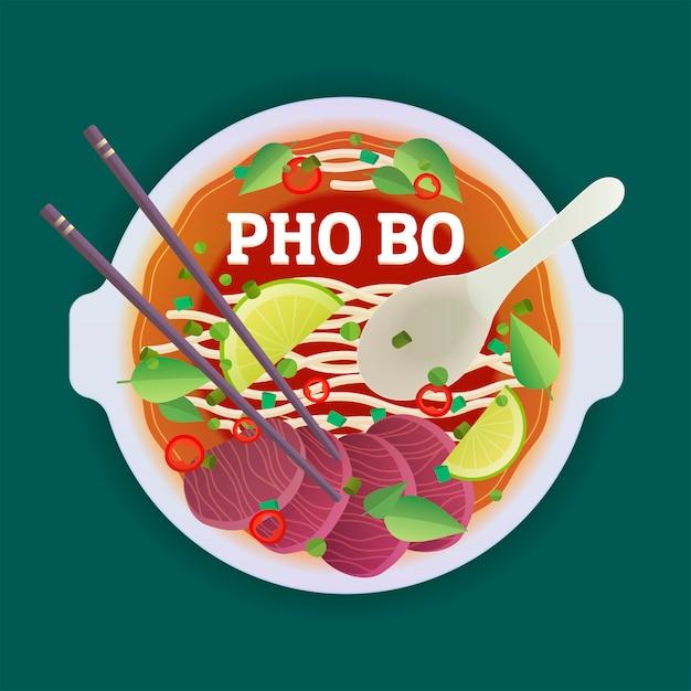 Minestra vietnamita tradizionale di pho bo. Vettore Premium