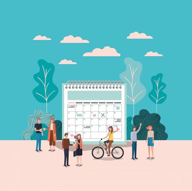 Mini persone con promemoria del calendario Vettore Premium