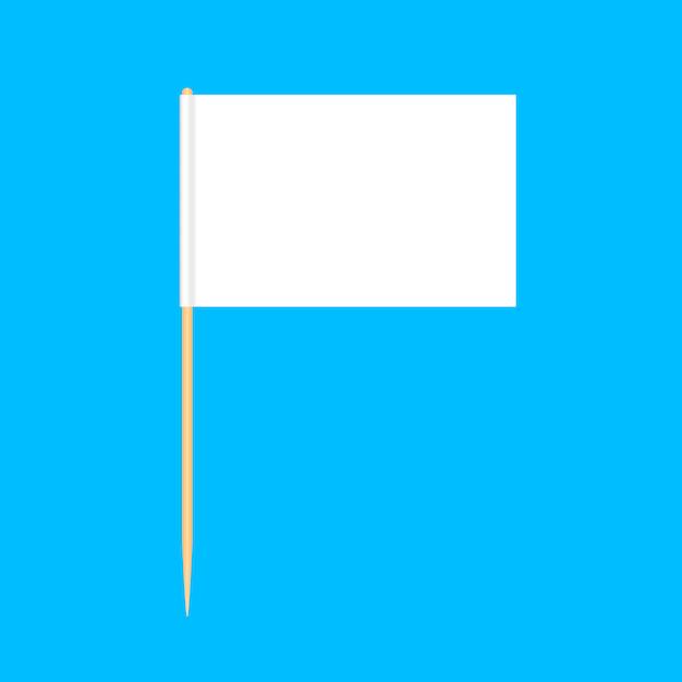 Miniatura di legno delle bandiere degli stuzzicadenti isolata sul blu Vettore Premium