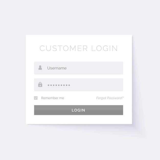 Minimal modello di progettazione form di login bianco Vettore gratuito