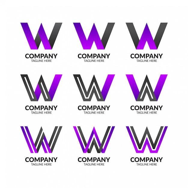 Minimalista lettera w logo template Vettore Premium