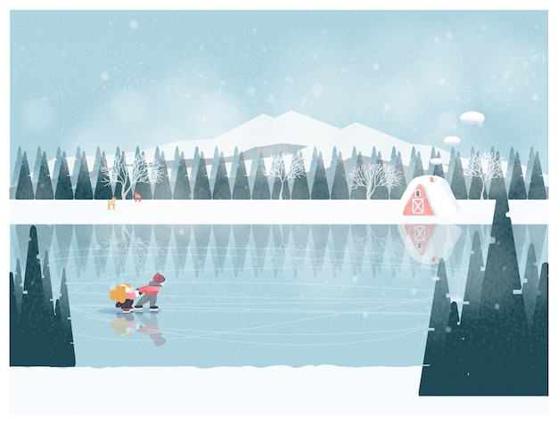 Minimalista sveglio del paesaggio invernale di stagione invernale con il bambino felice che gioca nel lago di ghiaccio Vettore Premium