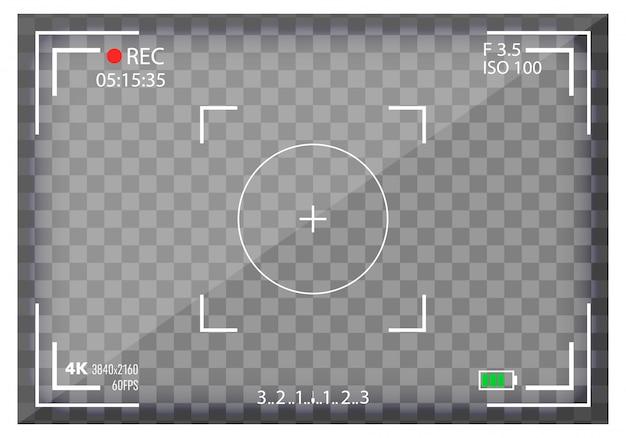 Mirino della fotocamera, mirorless, dslr. messa a fuoco digitale. Vettore Premium