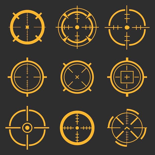 Mirino, obiettivo di mira, con l'obiettivo di icone bullseye. Vettore Premium