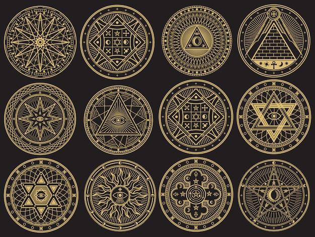 Mistero dorato, stregoneria, occulto, alchimia, simboli mistici esoterici Vettore Premium