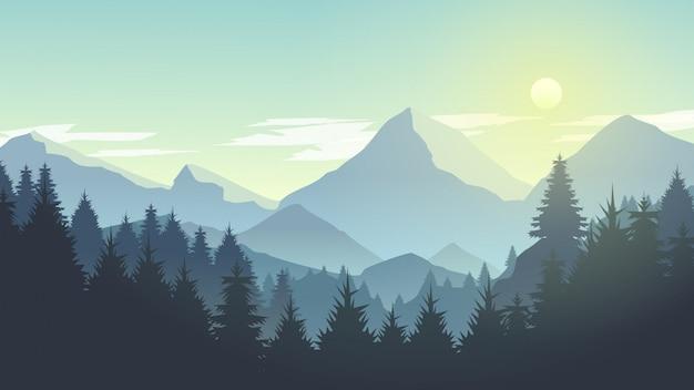 Misty mountain cliff pine tree forest nature landscape alla mattina, a mezzogiorno, alla luce del giorno Vettore Premium